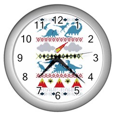 My Grandma Likes Dinosaurs Ugly Holiday Christmas Wall Clocks (Silver)