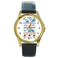 My Grandma Likes Dinosaurs Ugly Holiday Christmas Round Gold Metal Watch