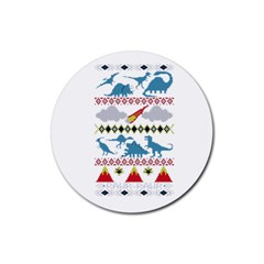 My Grandma Likes Dinosaurs Ugly Holiday Christmas Rubber Coaster (Round)