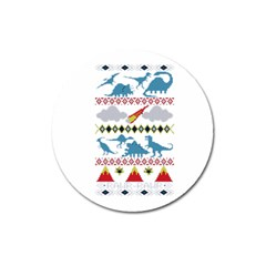 My Grandma Likes Dinosaurs Ugly Holiday Christmas Magnet 3  (Round)