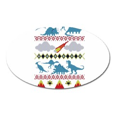 My Grandma Likes Dinosaurs Ugly Holiday Christmas Oval Magnet
