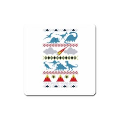 My Grandma Likes Dinosaurs Ugly Holiday Christmas Square Magnet