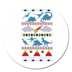 My Grandma Likes Dinosaurs Ugly Holiday Christmas Magnet 5  (Round)