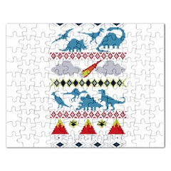 My Grandma Likes Dinosaurs Ugly Holiday Christmas Rectangular Jigsaw Puzzl