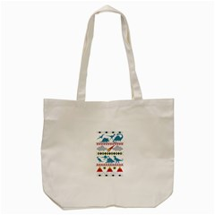 My Grandma Likes Dinosaurs Ugly Holiday Christmas Tote Bag (Cream)