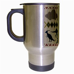 My Grandma Likes Dinosaurs Ugly Holiday Christmas Travel Mug (Silver Gray)