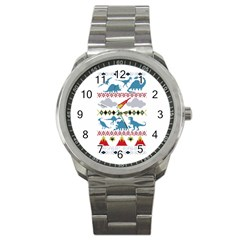 My Grandma Likes Dinosaurs Ugly Holiday Christmas Sport Metal Watch