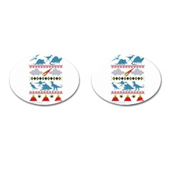 My Grandma Likes Dinosaurs Ugly Holiday Christmas Cufflinks (Oval)