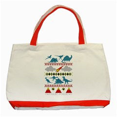 My Grandma Likes Dinosaurs Ugly Holiday Christmas Classic Tote Bag (Red)