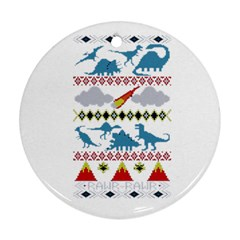 My Grandma Likes Dinosaurs Ugly Holiday Christmas Round Ornament (Two Sides)