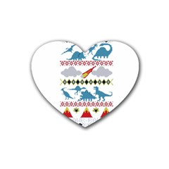 My Grandma Likes Dinosaurs Ugly Holiday Christmas Heart Coaster (4 pack)