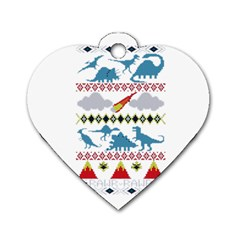 My Grandma Likes Dinosaurs Ugly Holiday Christmas Dog Tag Heart (Two Sides)