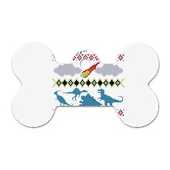 My Grandma Likes Dinosaurs Ugly Holiday Christmas Dog Tag Bone (Two Sides)