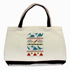 My Grandma Likes Dinosaurs Ugly Holiday Christmas Basic Tote Bag (Two Sides)
