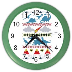 My Grandma Likes Dinosaurs Ugly Holiday Christmas Color Wall Clocks