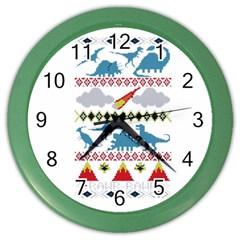 My Grandma Likes Dinosaurs Ugly Holiday Christmas Color Wall Clocks