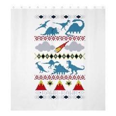 My Grandma Likes Dinosaurs Ugly Holiday Christmas Shower Curtain 66  x 72  (Large)