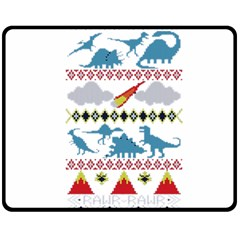 My Grandma Likes Dinosaurs Ugly Holiday Christmas Fleece Blanket (Medium)