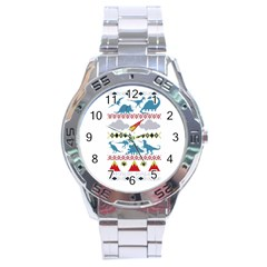 My Grandma Likes Dinosaurs Ugly Holiday Christmas Stainless Steel Analogue Watch