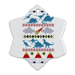 My Grandma Likes Dinosaurs Ugly Holiday Christmas Snowflake Ornament (2-Side)