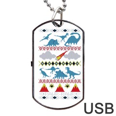 My Grandma Likes Dinosaurs Ugly Holiday Christmas Dog Tag USB Flash (One Side)