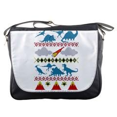My Grandma Likes Dinosaurs Ugly Holiday Christmas Messenger Bags