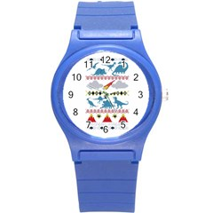My Grandma Likes Dinosaurs Ugly Holiday Christmas Round Plastic Sport Watch (S)