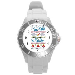 My Grandma Likes Dinosaurs Ugly Holiday Christmas Round Plastic Sport Watch (L)