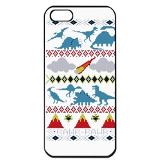 My Grandma Likes Dinosaurs Ugly Holiday Christmas Apple iPhone 5 Seamless Case (Black)