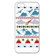 My Grandma Likes Dinosaurs Ugly Holiday Christmas Apple Seamless iPhone 5 Case (Clear)