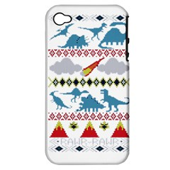 My Grandma Likes Dinosaurs Ugly Holiday Christmas Apple iPhone 4/4S Hardshell Case (PC+Silicone)