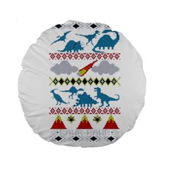 My Grandma Likes Dinosaurs Ugly Holiday Christmas Standard 15  Premium Round Cushions