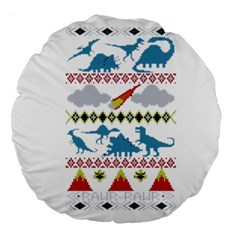 My Grandma Likes Dinosaurs Ugly Holiday Christmas Large 18  Premium Round Cushions