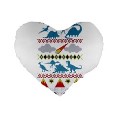 My Grandma Likes Dinosaurs Ugly Holiday Christmas Standard 16  Premium Heart Shape Cushions