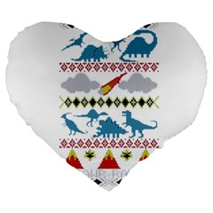 My Grandma Likes Dinosaurs Ugly Holiday Christmas Large 19  Premium Heart Shape Cushions