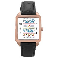 My Grandma Likes Dinosaurs Ugly Holiday Christmas Rose Gold Leather Watch
