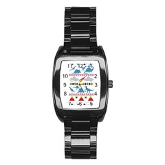 My Grandma Likes Dinosaurs Ugly Holiday Christmas Stainless Steel Barrel Watch