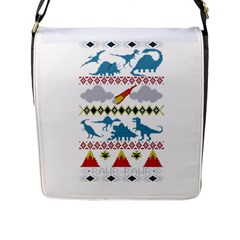 My Grandma Likes Dinosaurs Ugly Holiday Christmas Flap Messenger Bag (L)