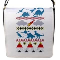 My Grandma Likes Dinosaurs Ugly Holiday Christmas Flap Messenger Bag (S)