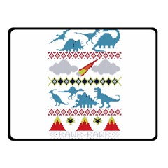 My Grandma Likes Dinosaurs Ugly Holiday Christmas Double Sided Fleece Blanket (Small)