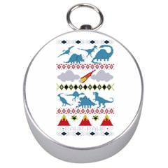 My Grandma Likes Dinosaurs Ugly Holiday Christmas Silver Compasses