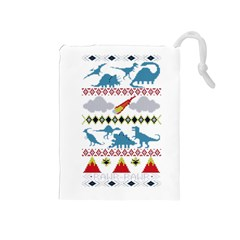 My Grandma Likes Dinosaurs Ugly Holiday Christmas Drawstring Pouches (Medium)