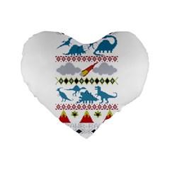 My Grandma Likes Dinosaurs Ugly Holiday Christmas Standard 16  Premium Flano Heart Shape Cushions