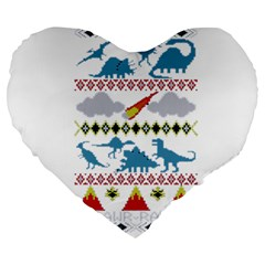 My Grandma Likes Dinosaurs Ugly Holiday Christmas Large 19  Premium Flano Heart Shape Cushions