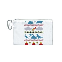 My Grandma Likes Dinosaurs Ugly Holiday Christmas Canvas Cosmetic Bag (S)