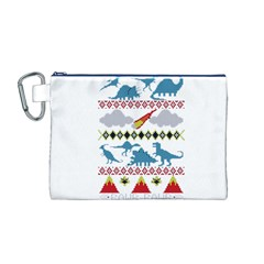 My Grandma Likes Dinosaurs Ugly Holiday Christmas Canvas Cosmetic Bag (M)