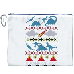 My Grandma Likes Dinosaurs Ugly Holiday Christmas Canvas Cosmetic Bag (XXXL)