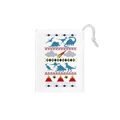 My Grandma Likes Dinosaurs Ugly Holiday Christmas Drawstring Pouches (XS)