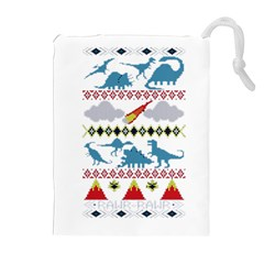 My Grandma Likes Dinosaurs Ugly Holiday Christmas Drawstring Pouches (Extra Large)