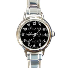 Black elegant  Xmas design Round Italian Charm Watch